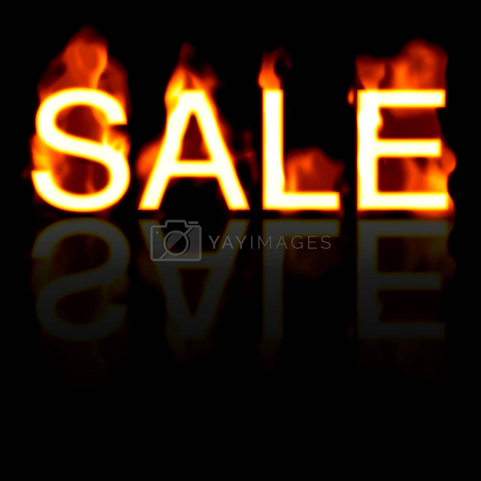 Retail SALE artwork with a fire effect and reflection.  Great for signs posters web marketing and more.