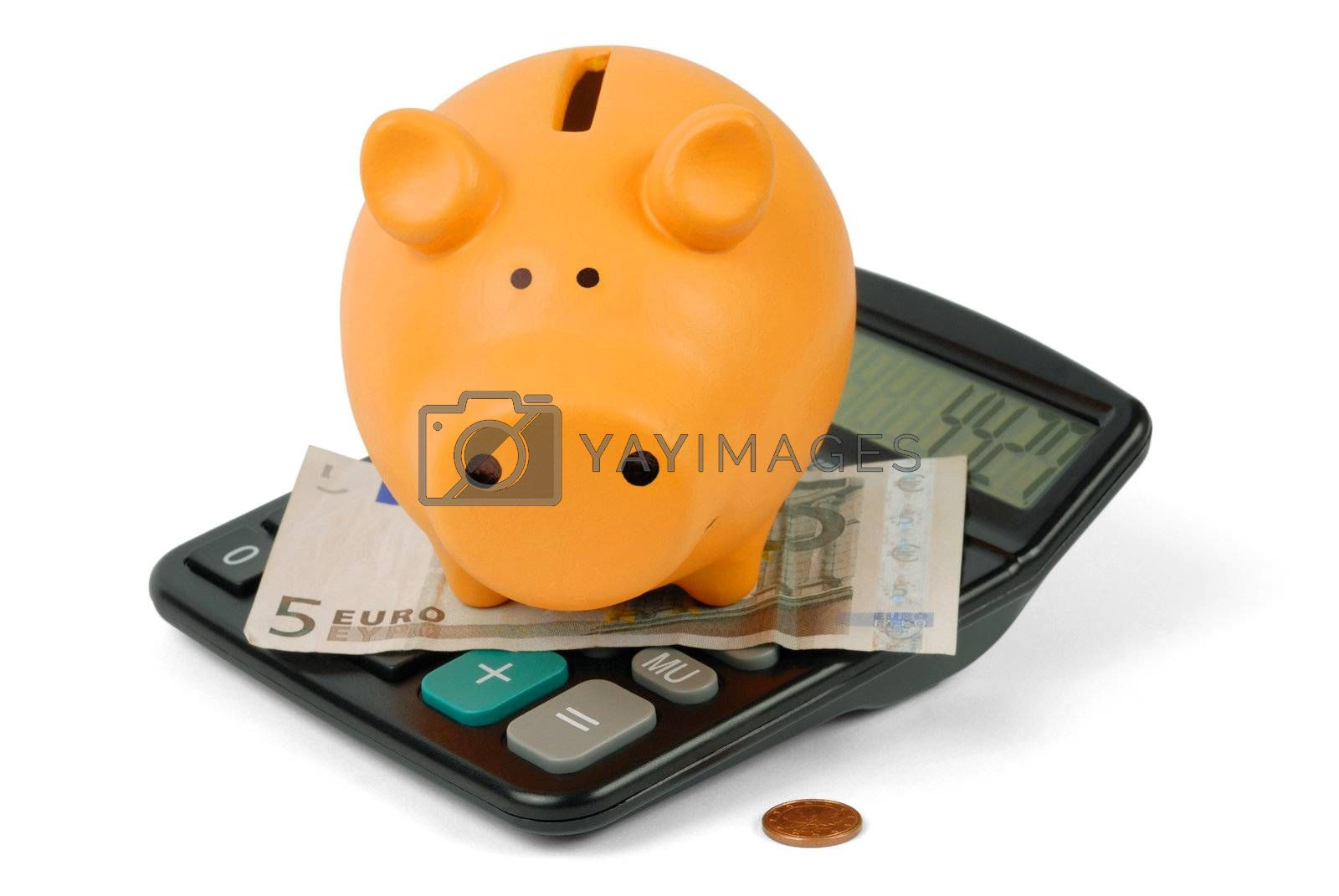 Piggy bank, calculator and euro currency on white