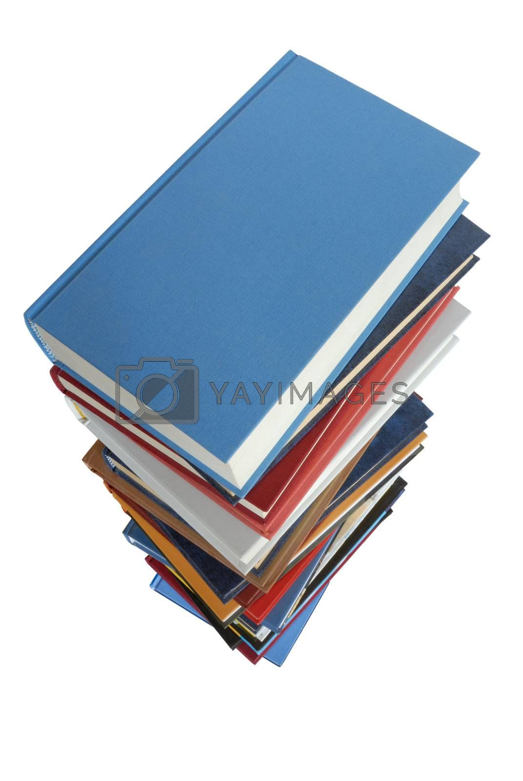 High books stack seen from above,  isolated on white background