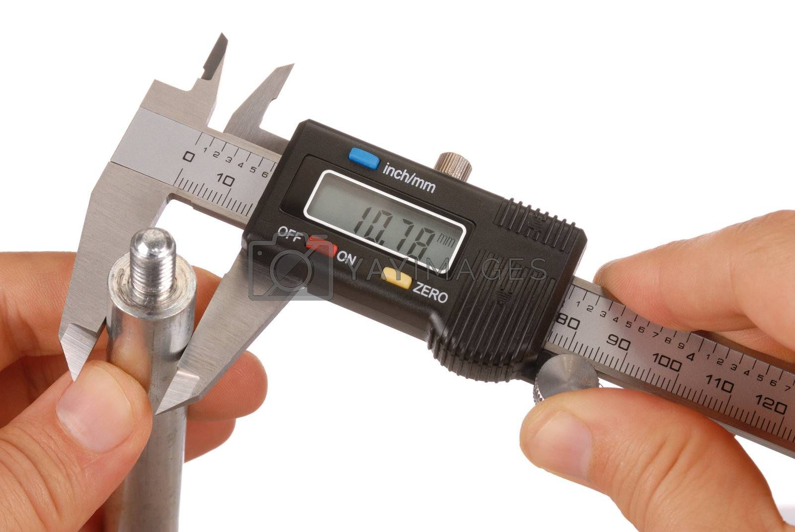 Digital caliper and hands isolated on white, display set to mm