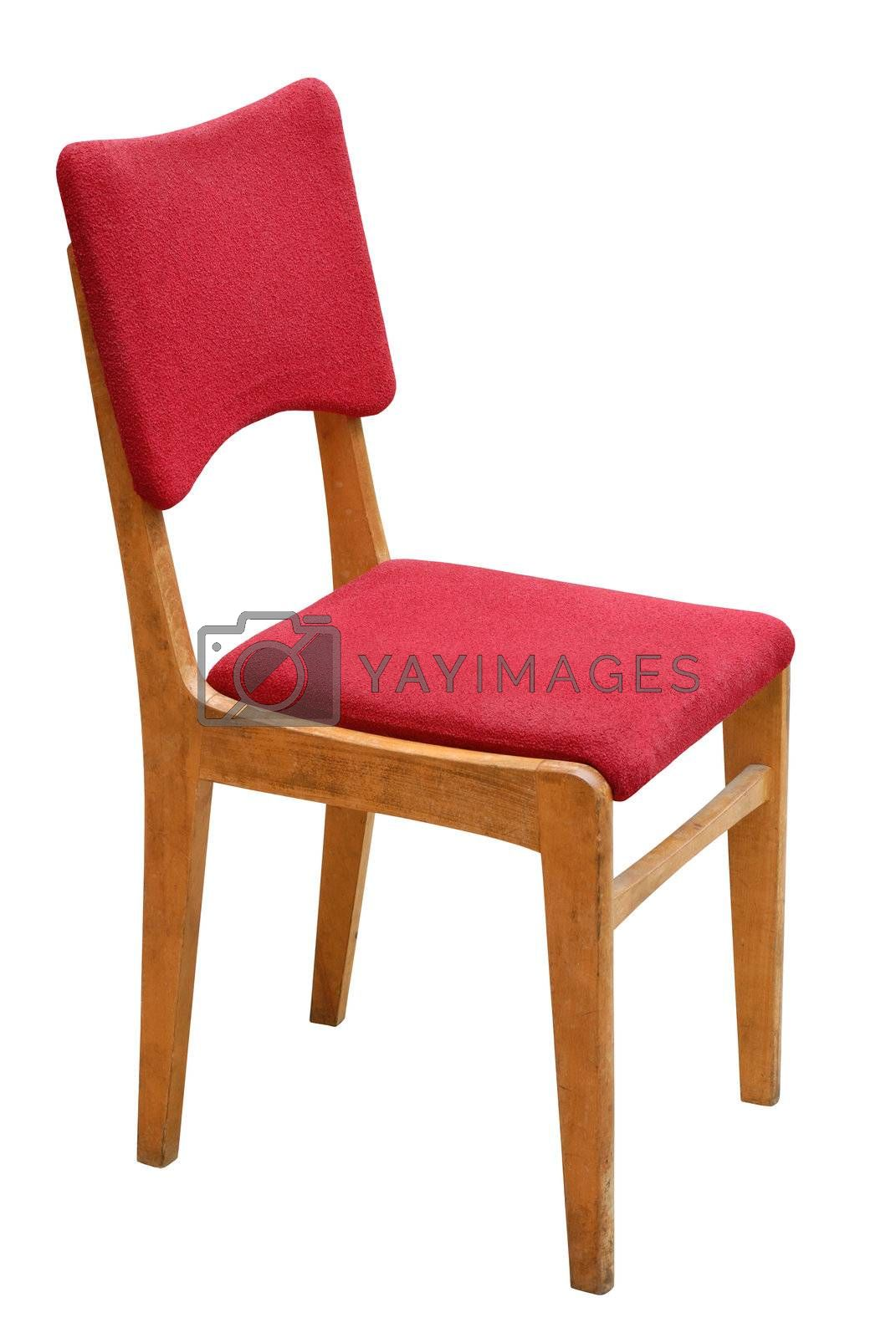 Old red chair isolated on white background