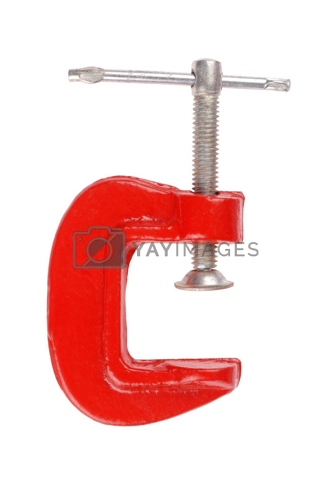 Tool - red clamp isolated on white background