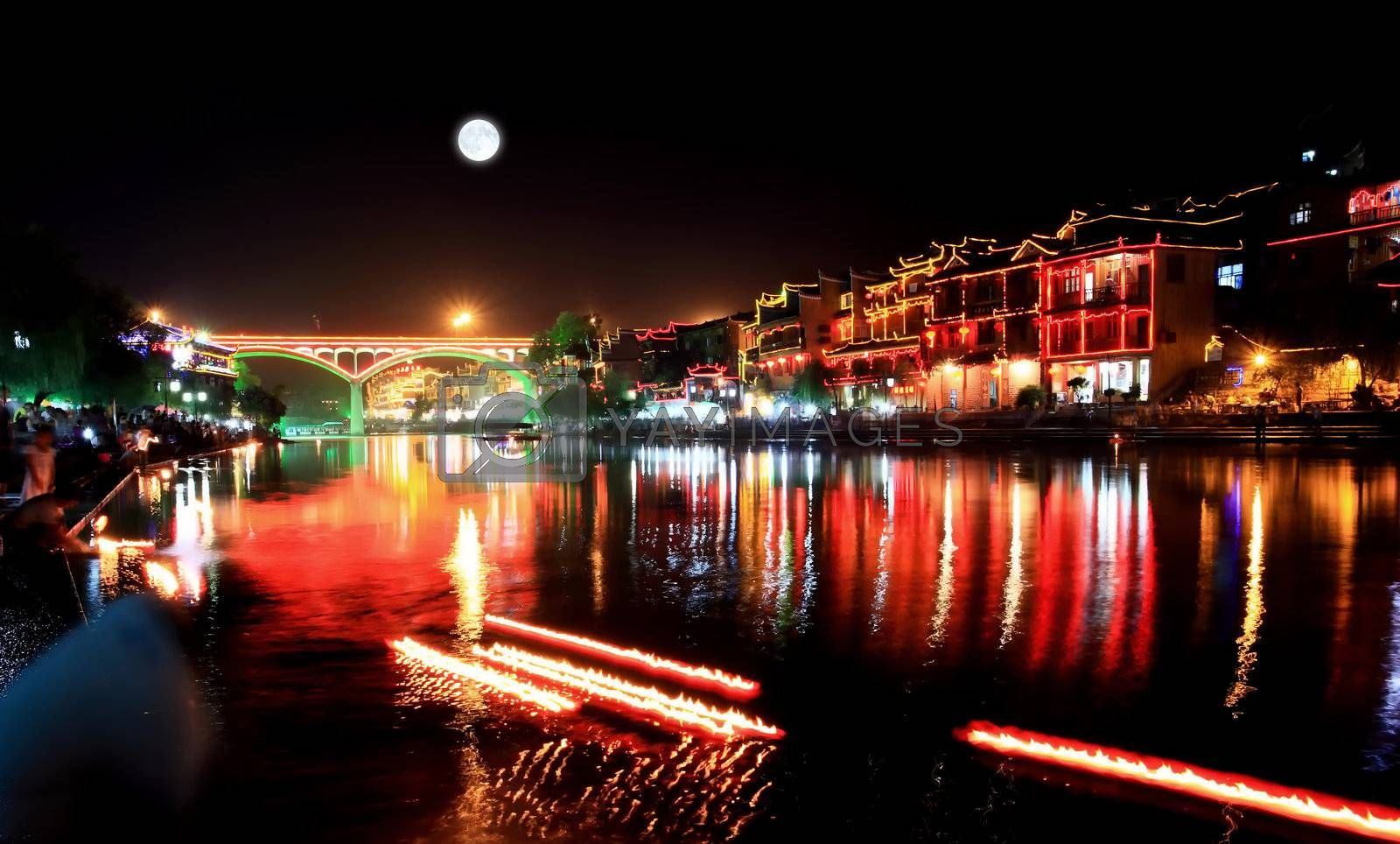 night scenery of the Phoenix Town - the one the four most attractive small towns in China