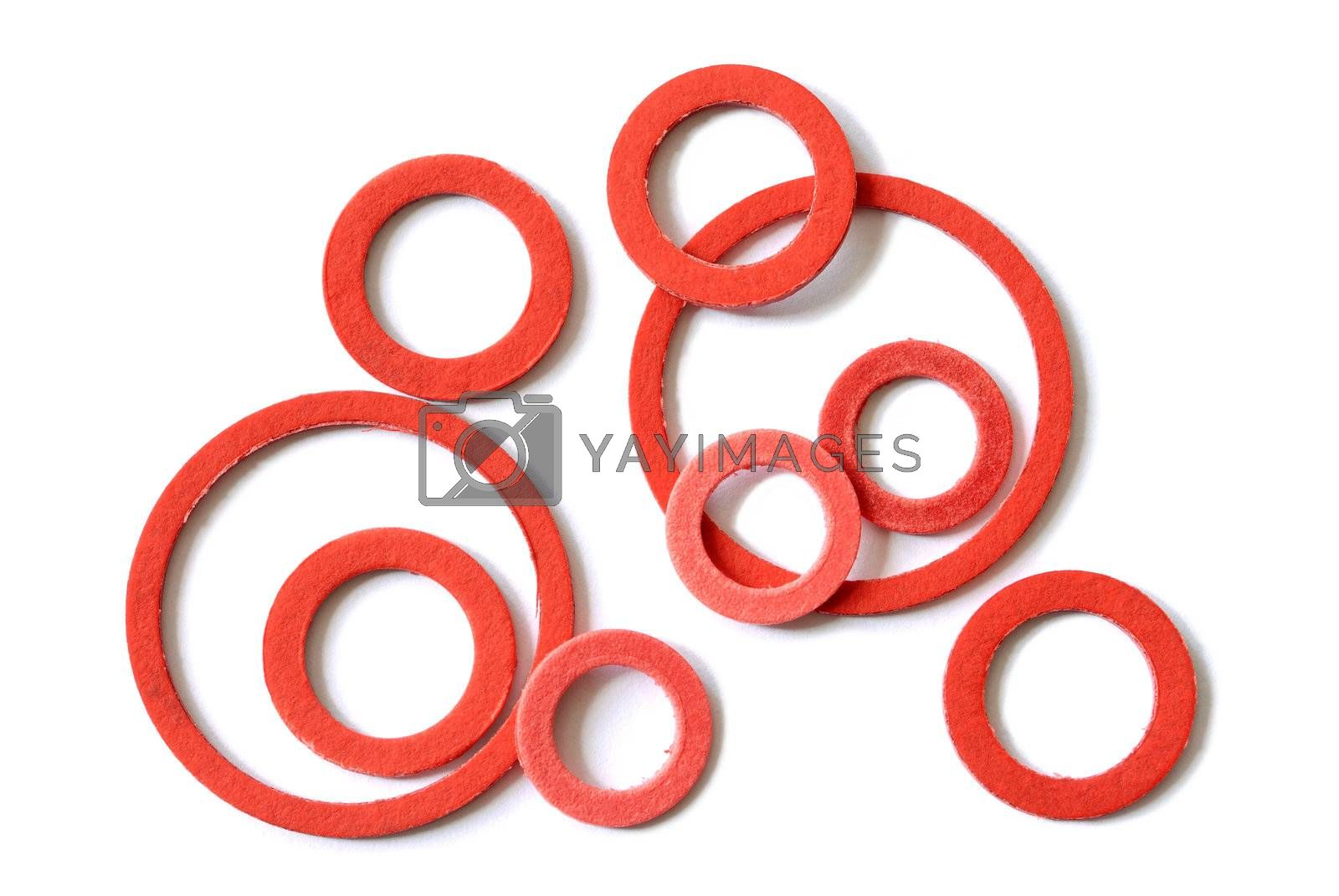 Macro of red gaskets isolated on white