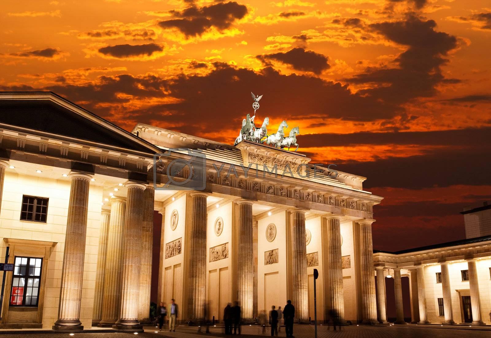 BRANDENBURG GATE at sunset in Berlin Germany