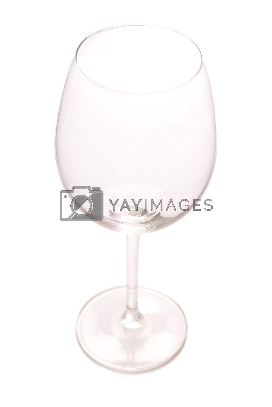 Empty wine glass isolated on white