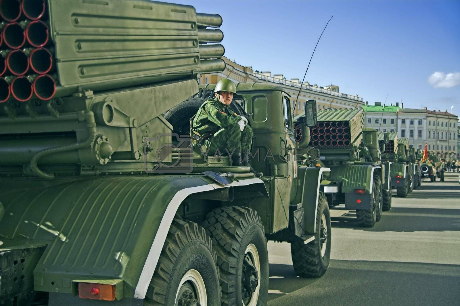 ST PETERSBURG, RUSSIA-MAY 8, 2008: Missile vehicles lined for a rehearsal before the celebration of World War II Victory Day on May 9, 2008.