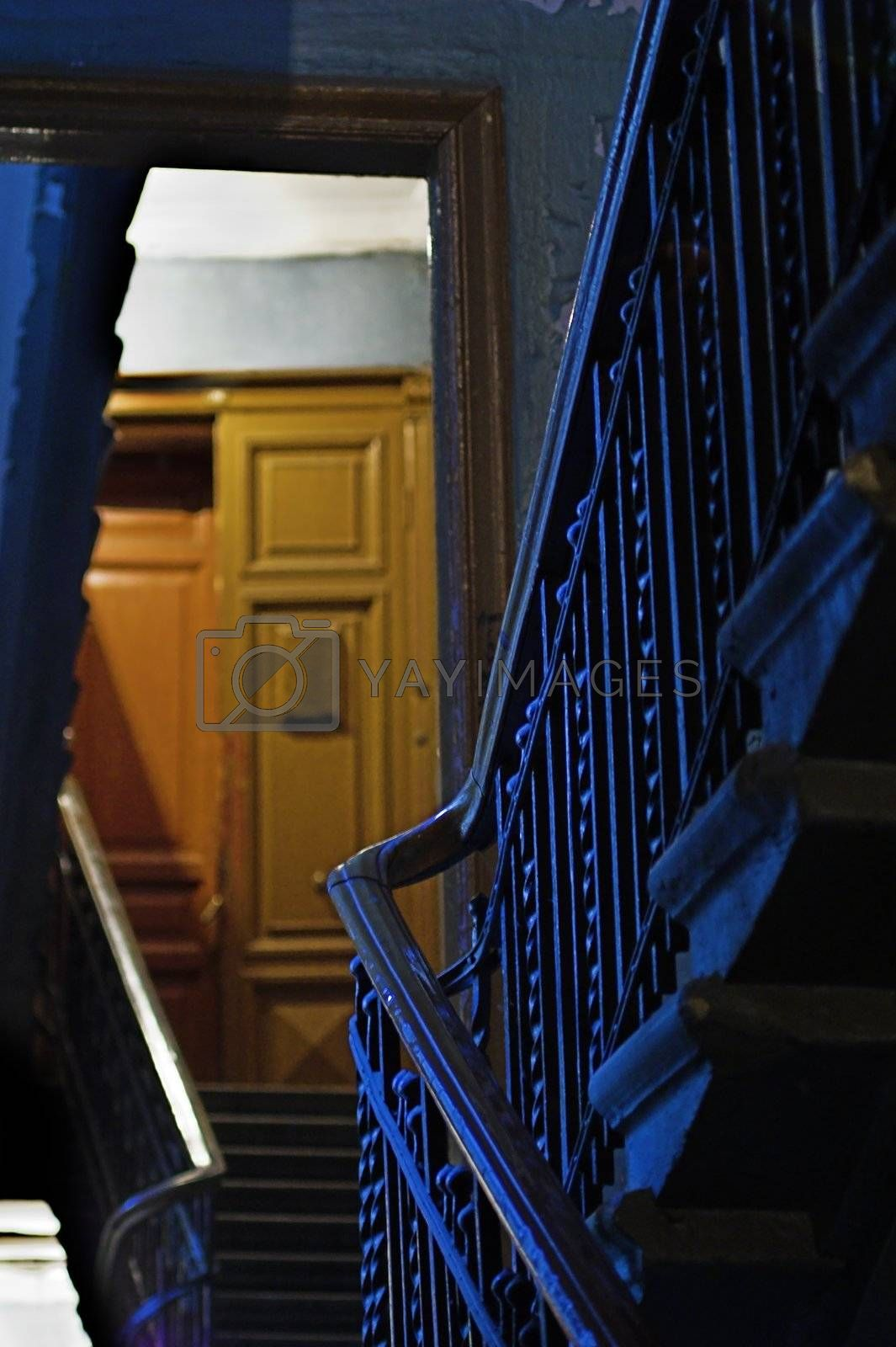 Backstairs in an apartment building.