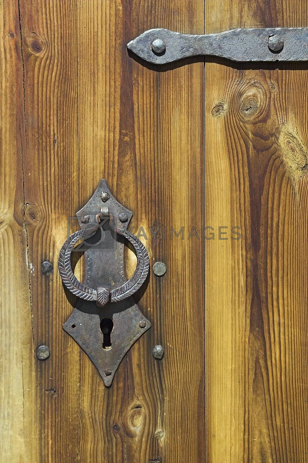 Door to ancient Russian loghouse
