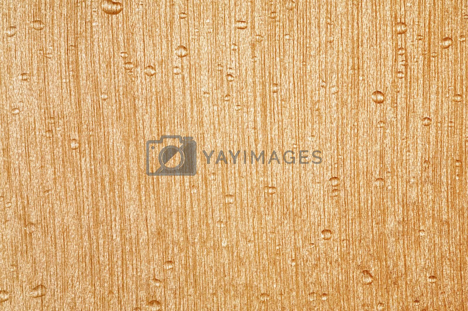 Abstract light wood texture with water-drops
