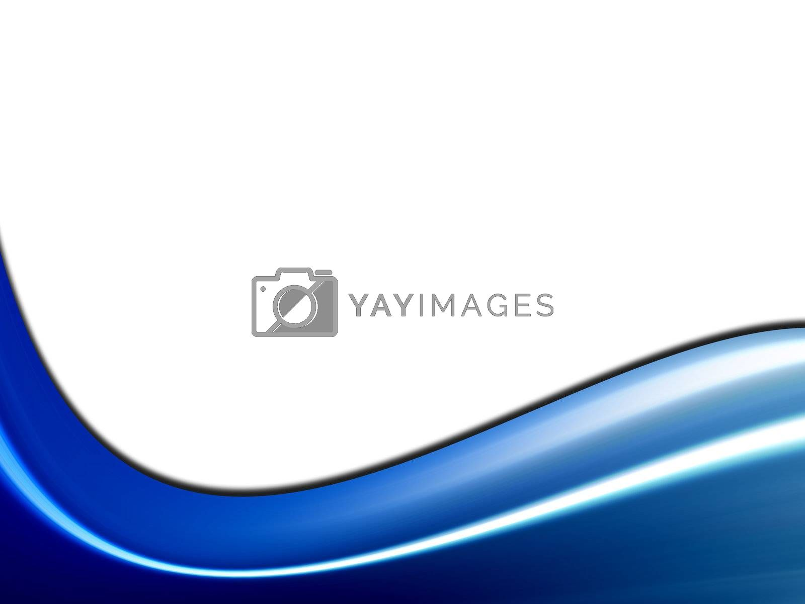 blue dynamic wave on white background with light effects