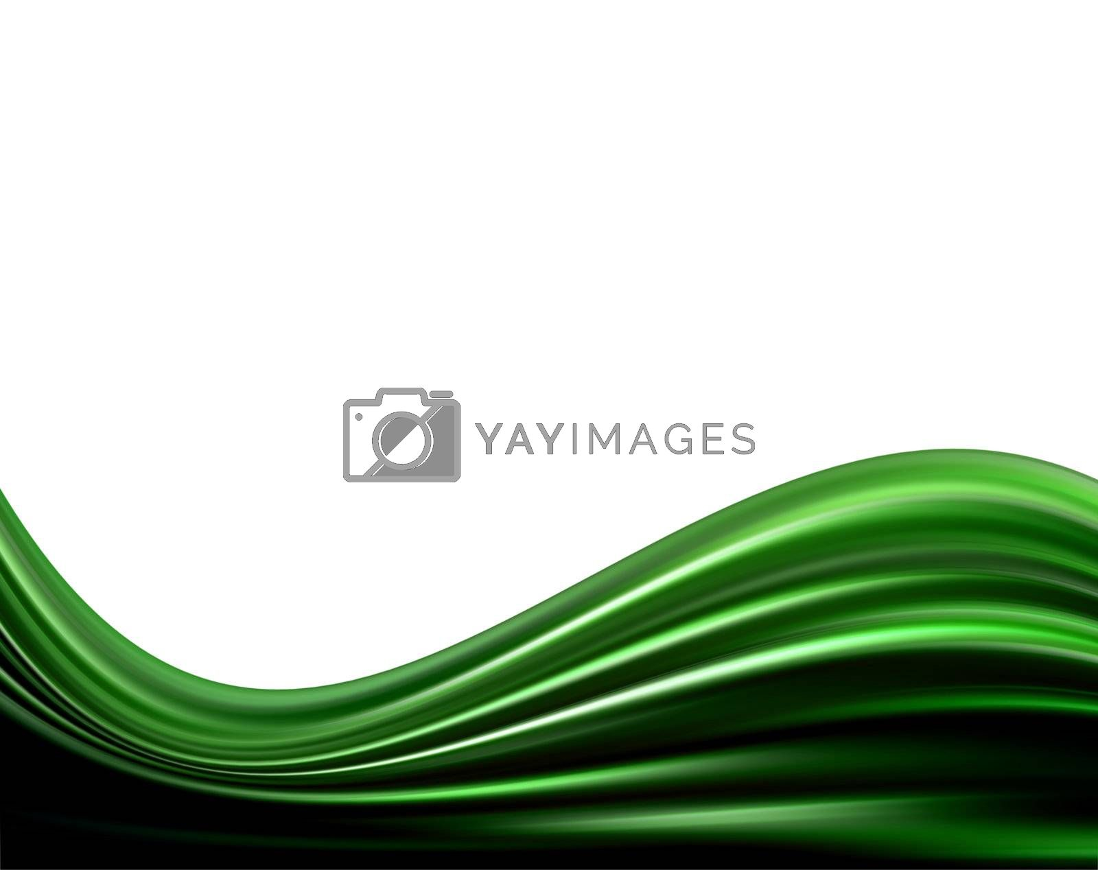 green dynamic waves on white background.
