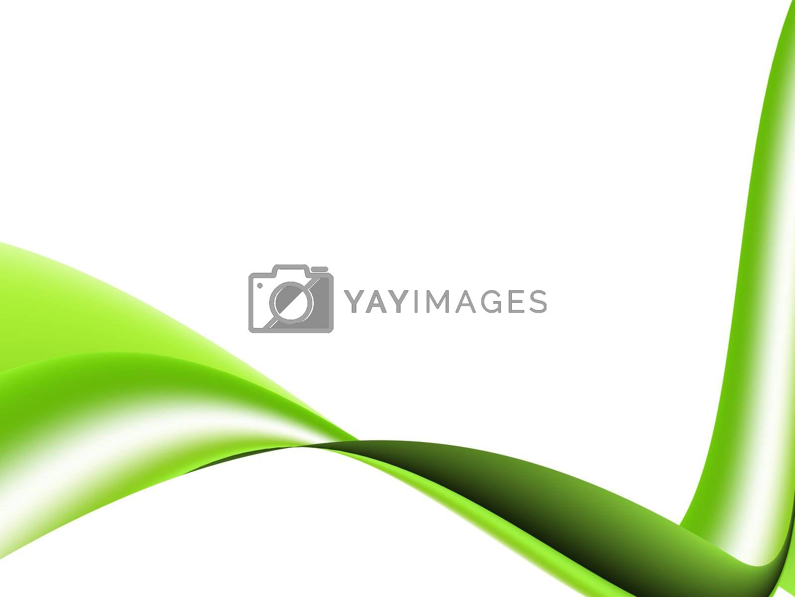 green wave white background