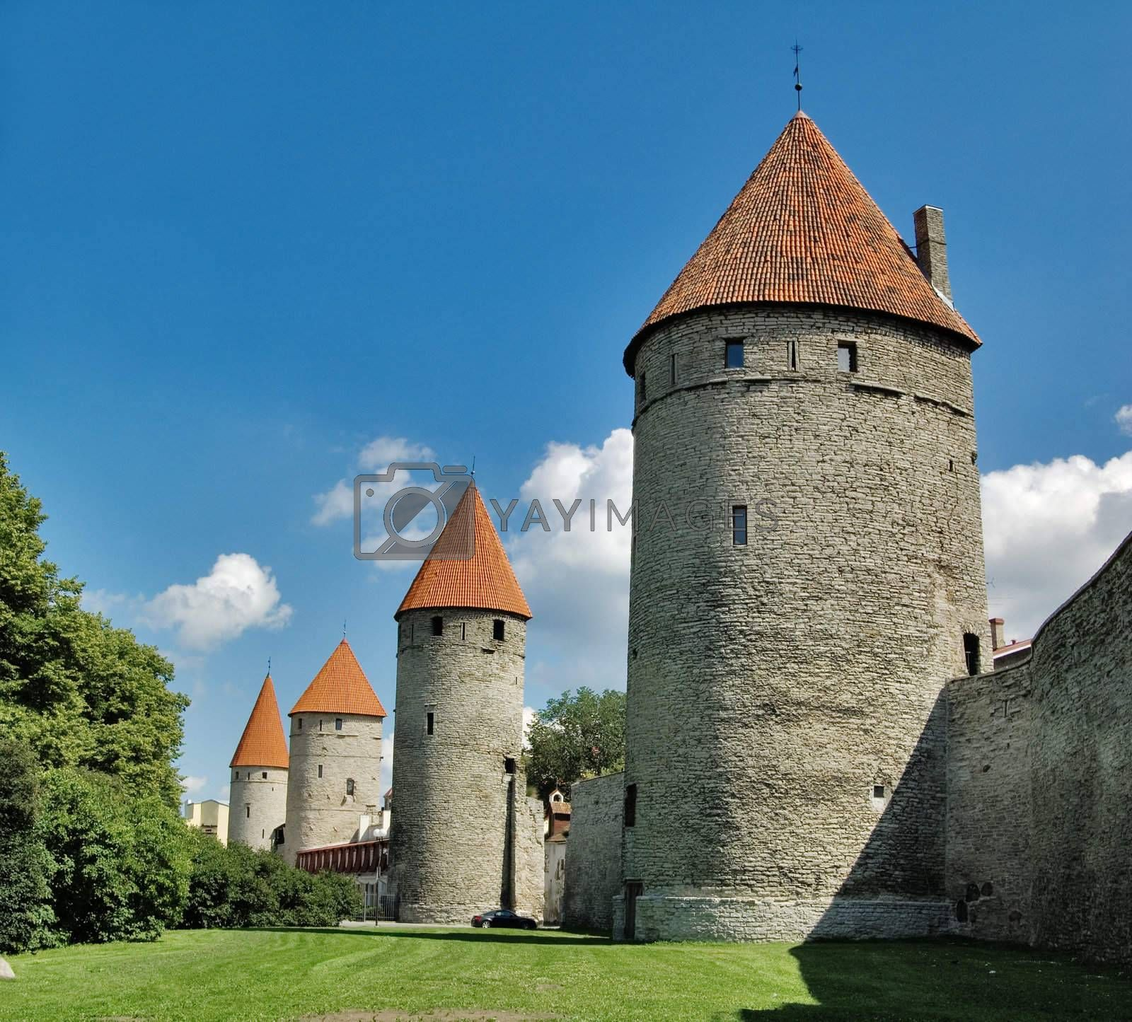 Tallinn. Towers in a fortification.
