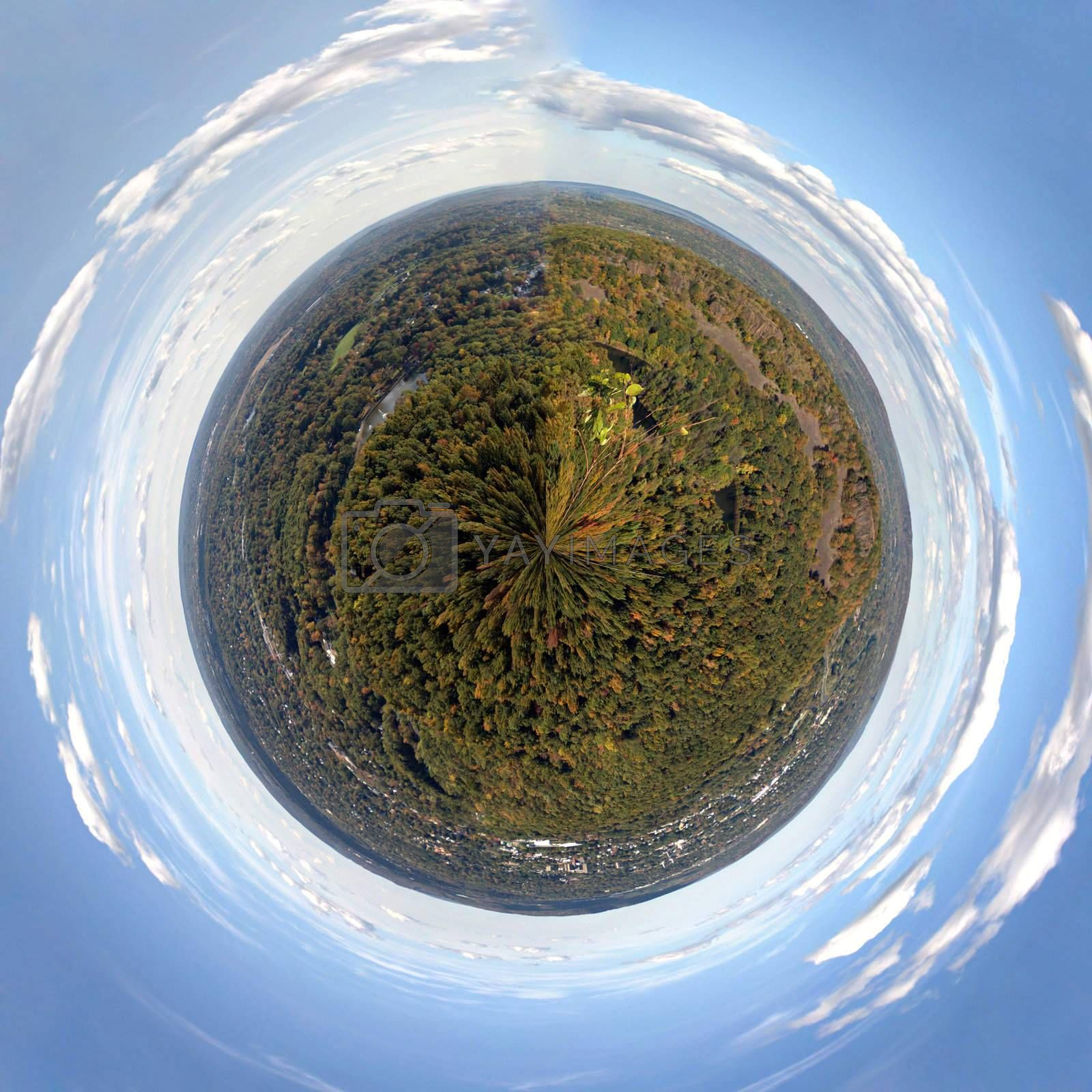 A 360 degree panoramic view of the fall foliage in Meriden Connecticut and Hubbard Park from Craigs Castle.