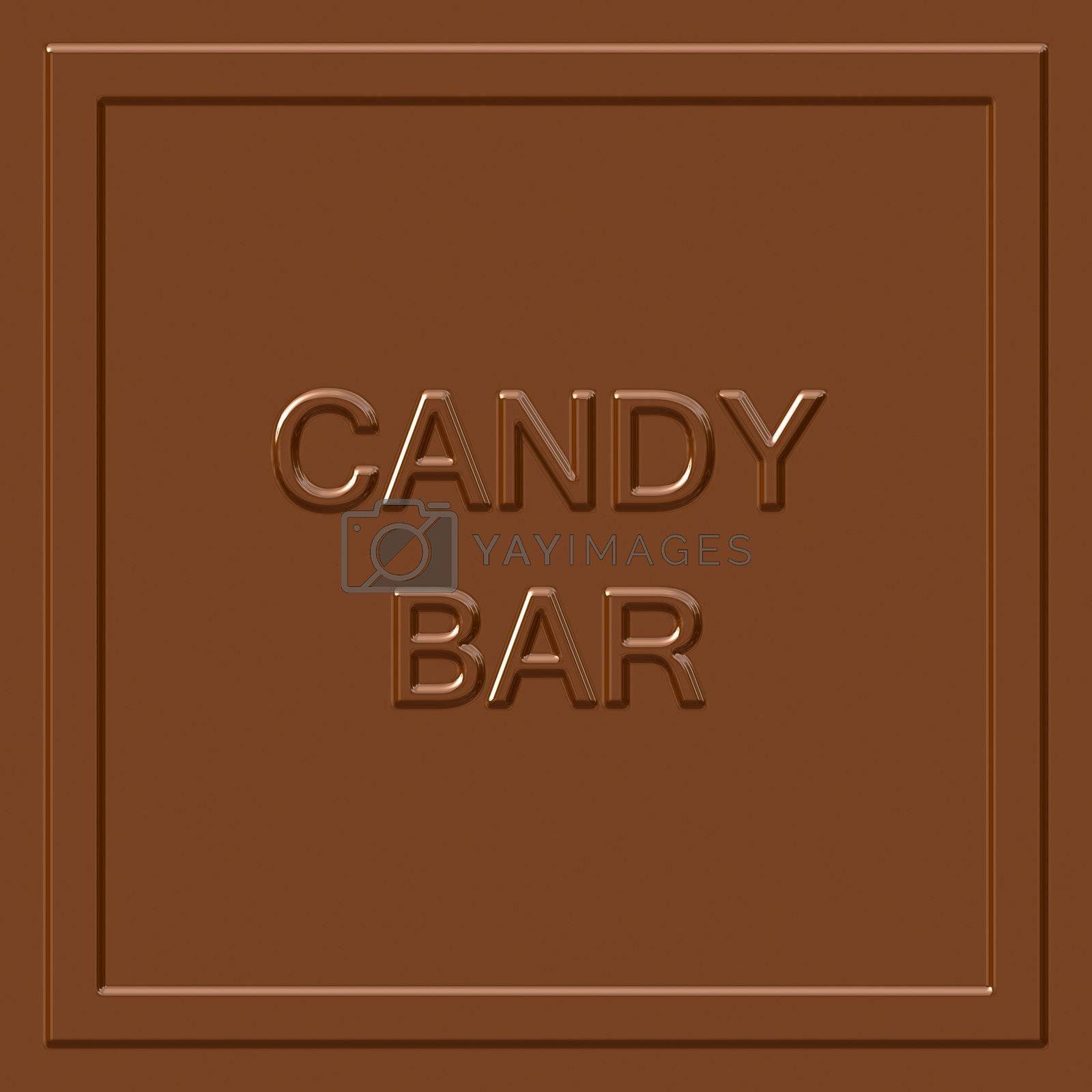 A milk chocolate candy bar square that tiles seamlessly as a pattern to make any background or isolated chocolate bar shape that you need.