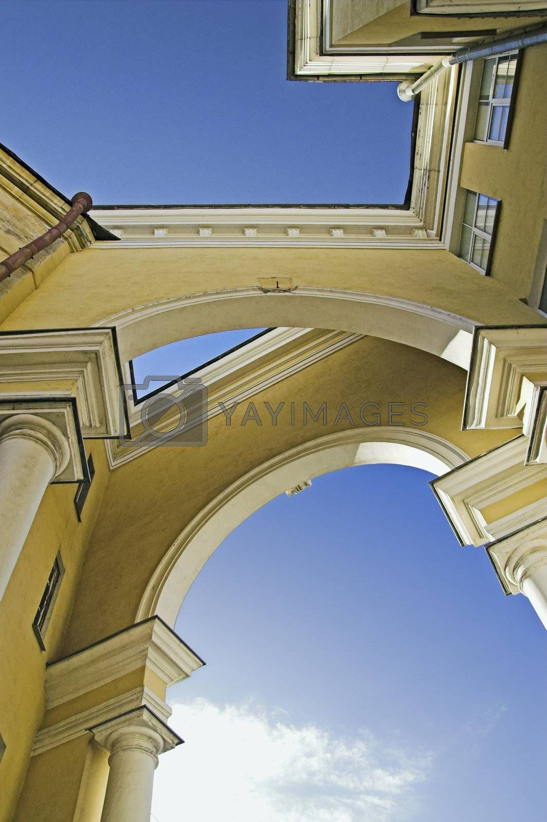 Intricate arched structure of old building