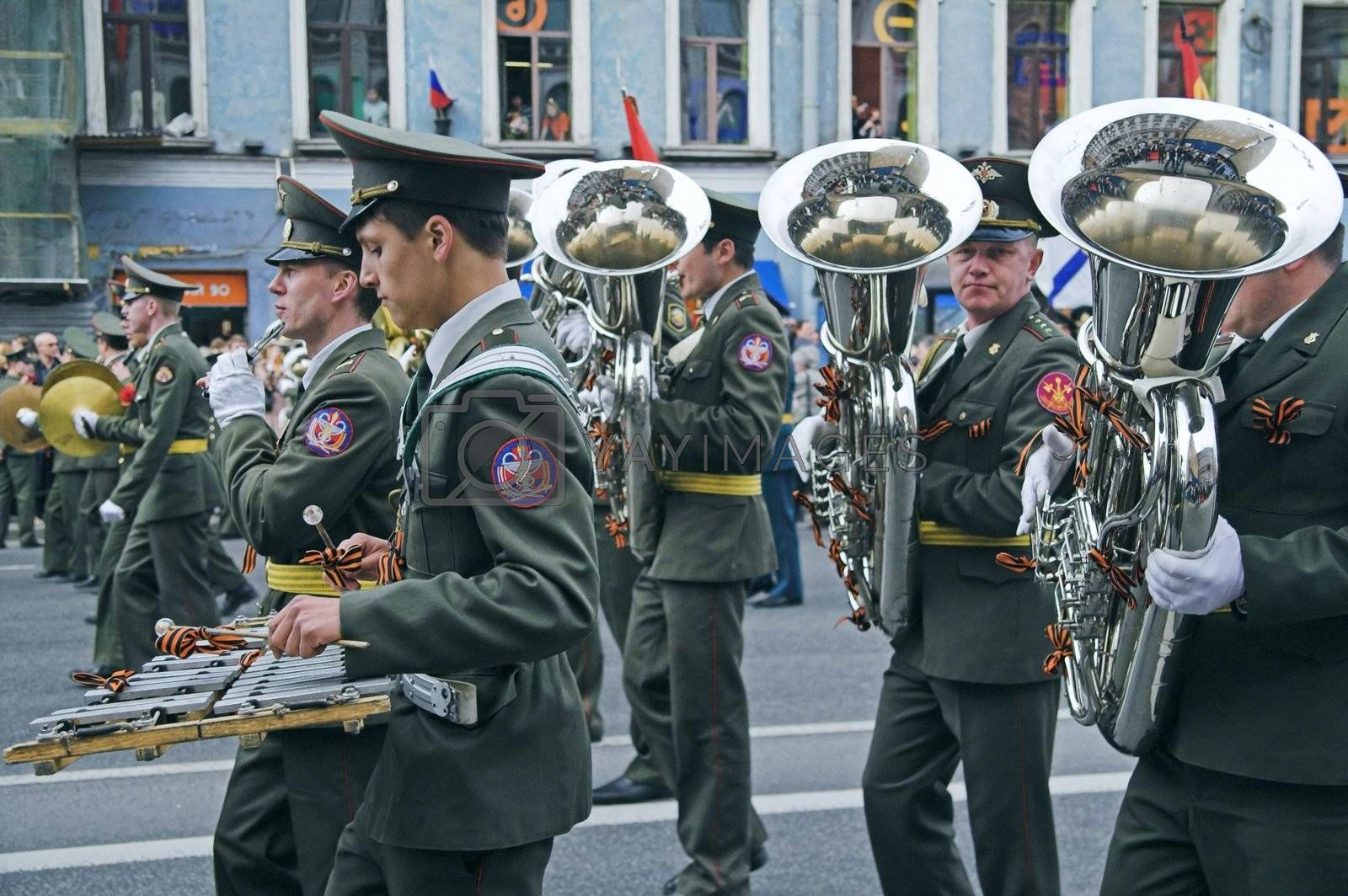 ST PETERSBURG - MAY 9: Military orchestra musicians parading to celebrate World War II Victory Day May 9, 2008, St Petersburg, Russia.