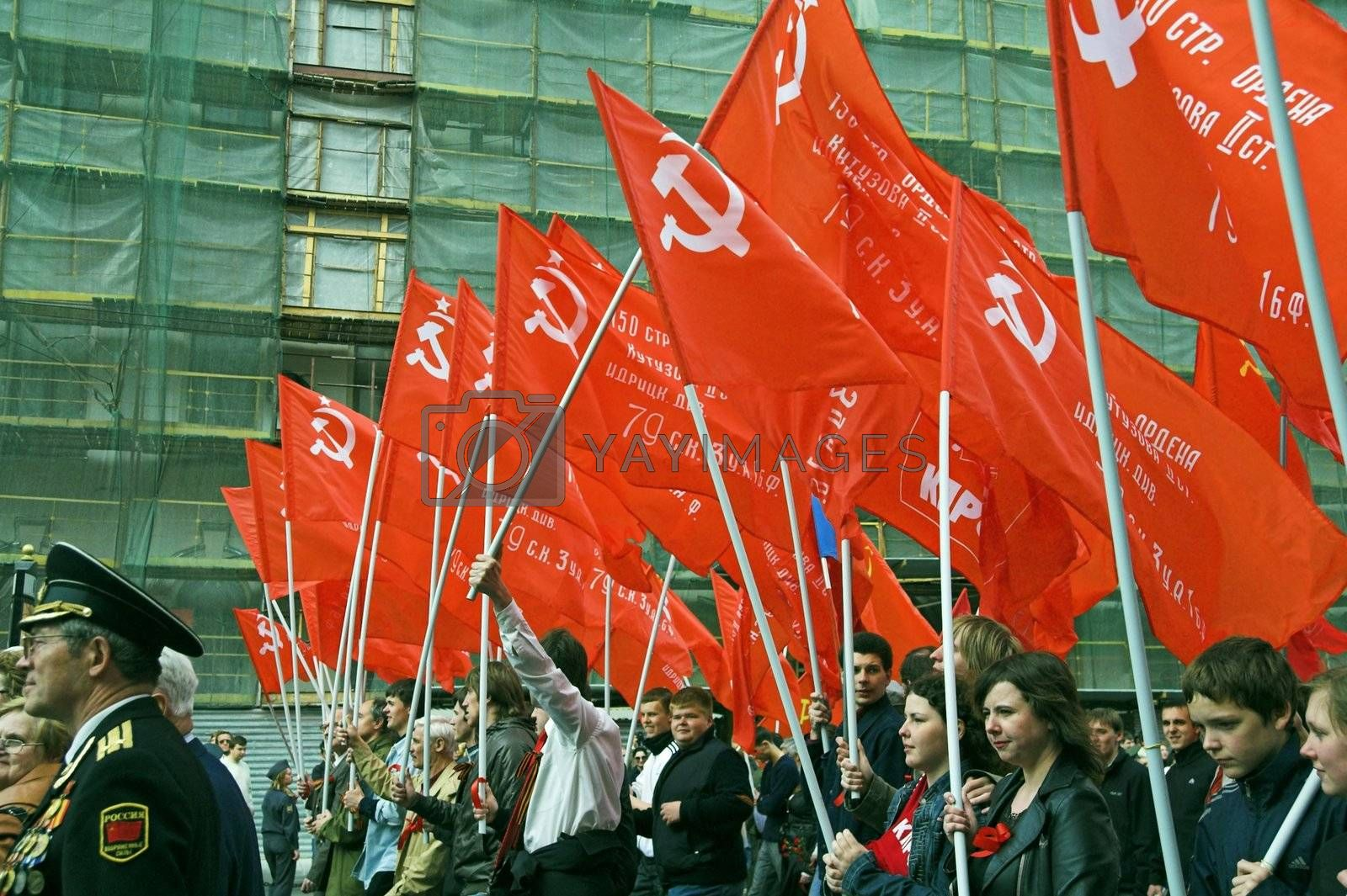 ST PETERSBURG, RUSSIA-MAY 9, 2008: People walking in demonstration to celebrate World War II Victory Day on May 9, 2008.