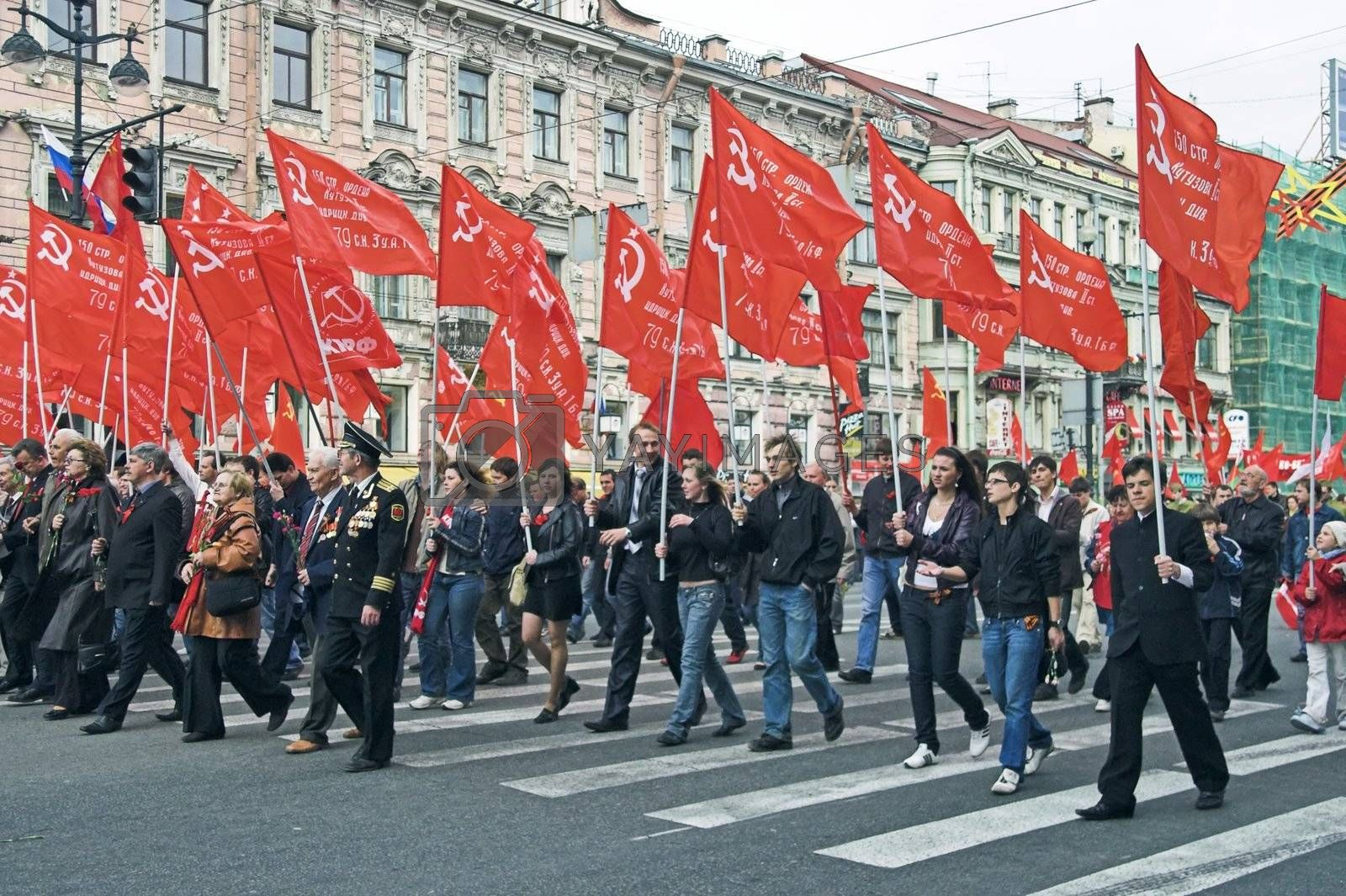 ST PETERSBURG - MAY 9: People walking in demonstration to celebrate World War II Victory Day May 9, 2008, St Petersburg, Russia.