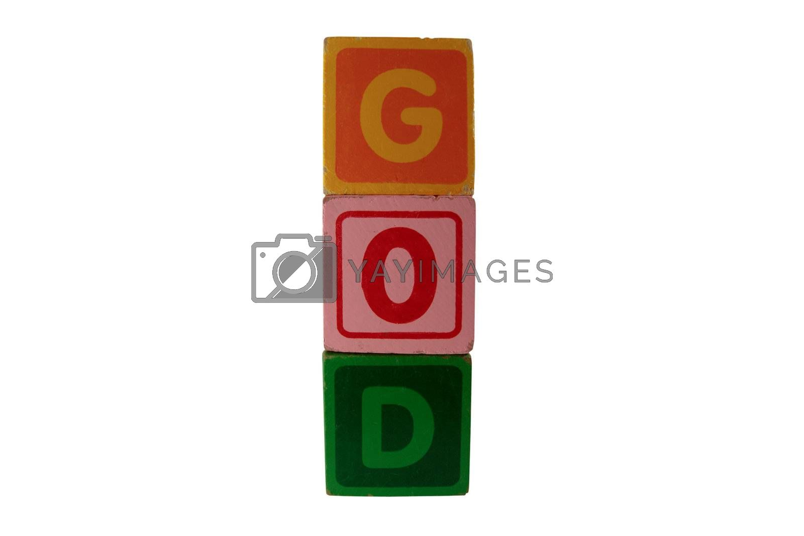Royalty free image of childs play blocks spell god with clipping path by morrbyte