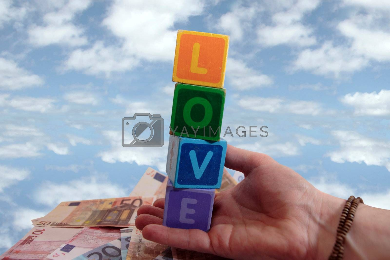 Royalty free image of outstretched hands of love and money in the air by morrbyte