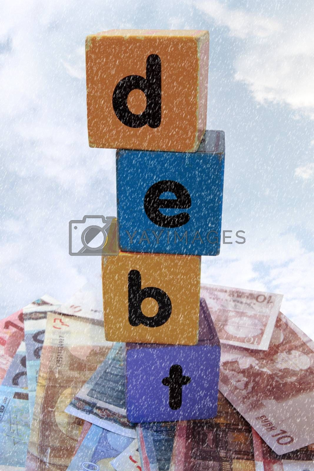 Royalty free image of stormy debt in play letters by morrbyte