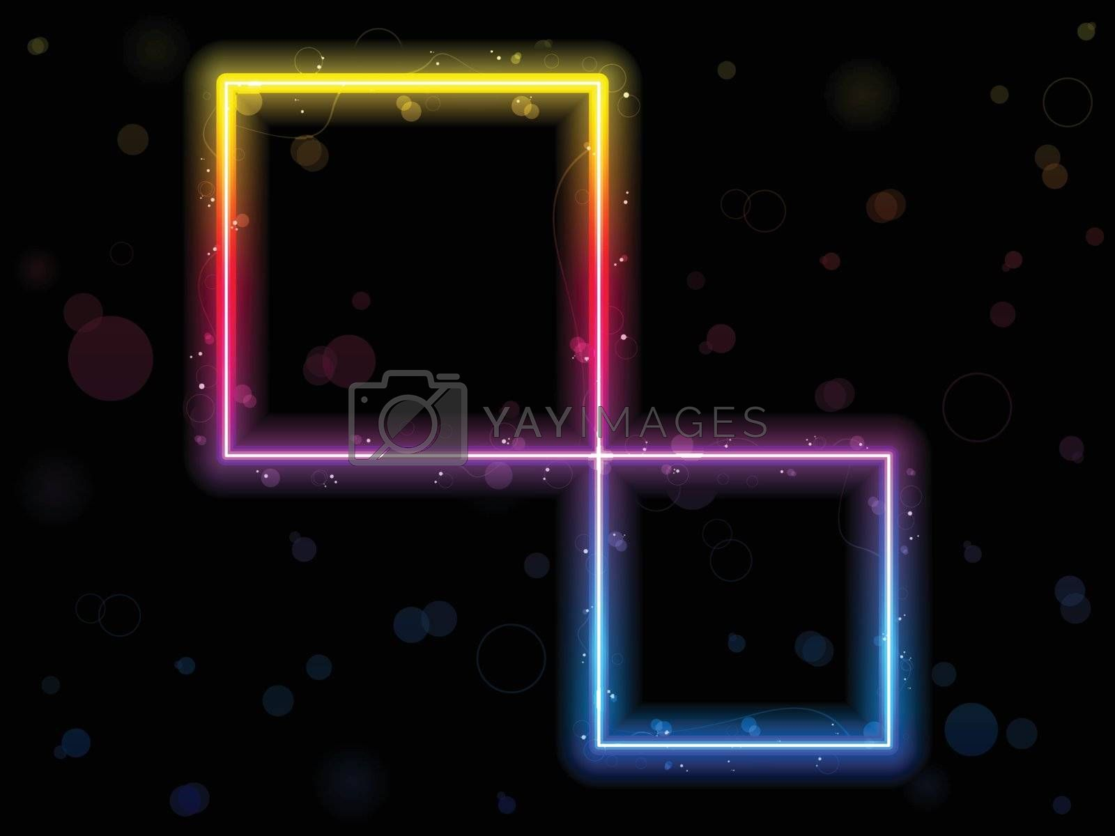 Royalty free image of Rainbow Square Border with Sparkles and Swirls. by gubh83