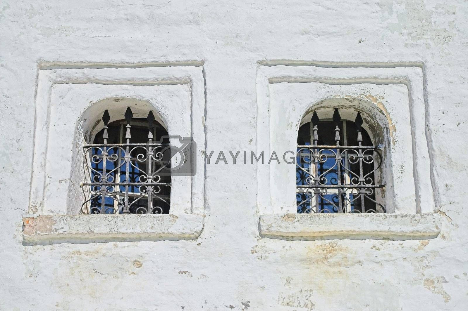 Windows of Ancient Russian monastery