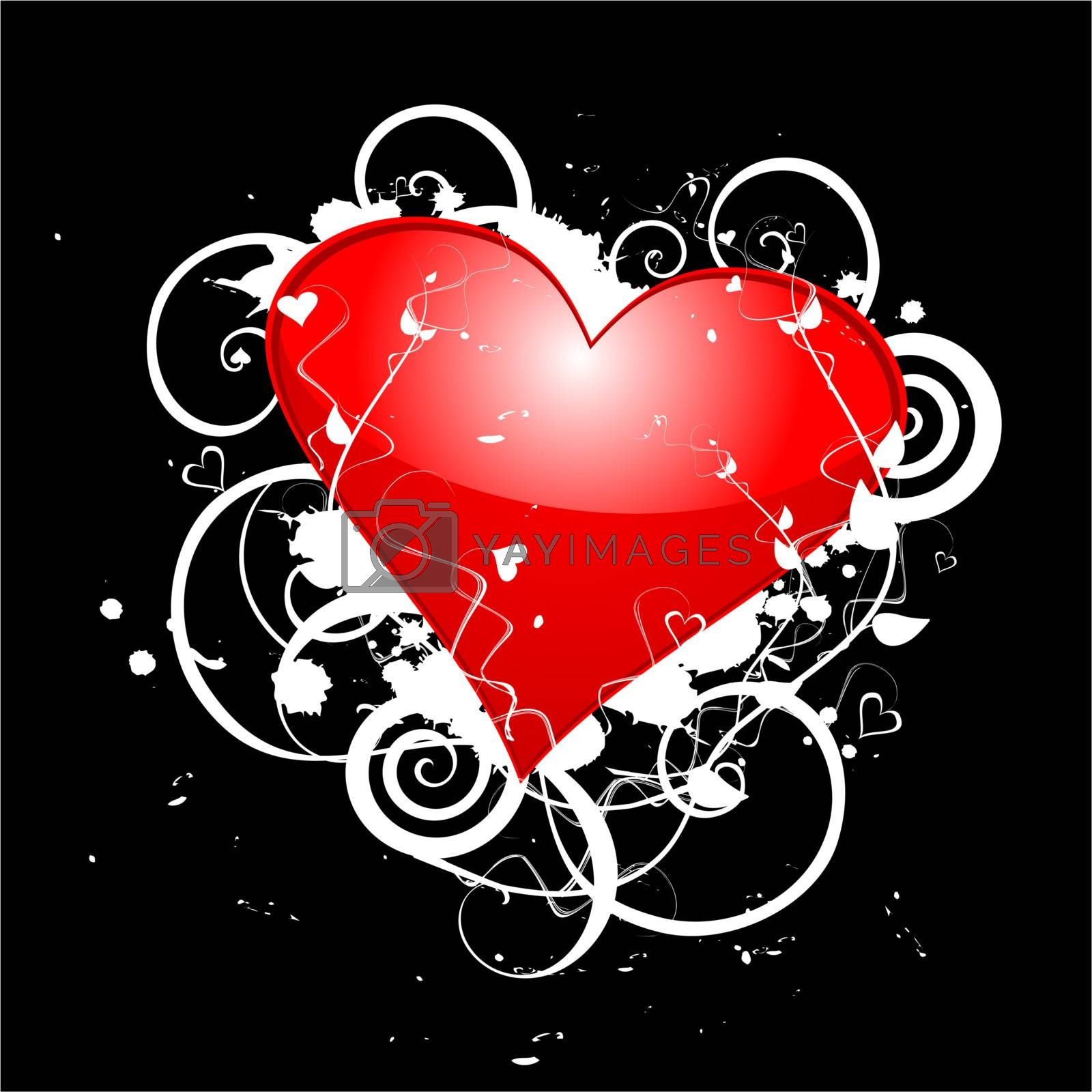 Valentines Day Shiny Red Heart On Grunge Floral, vector illustration