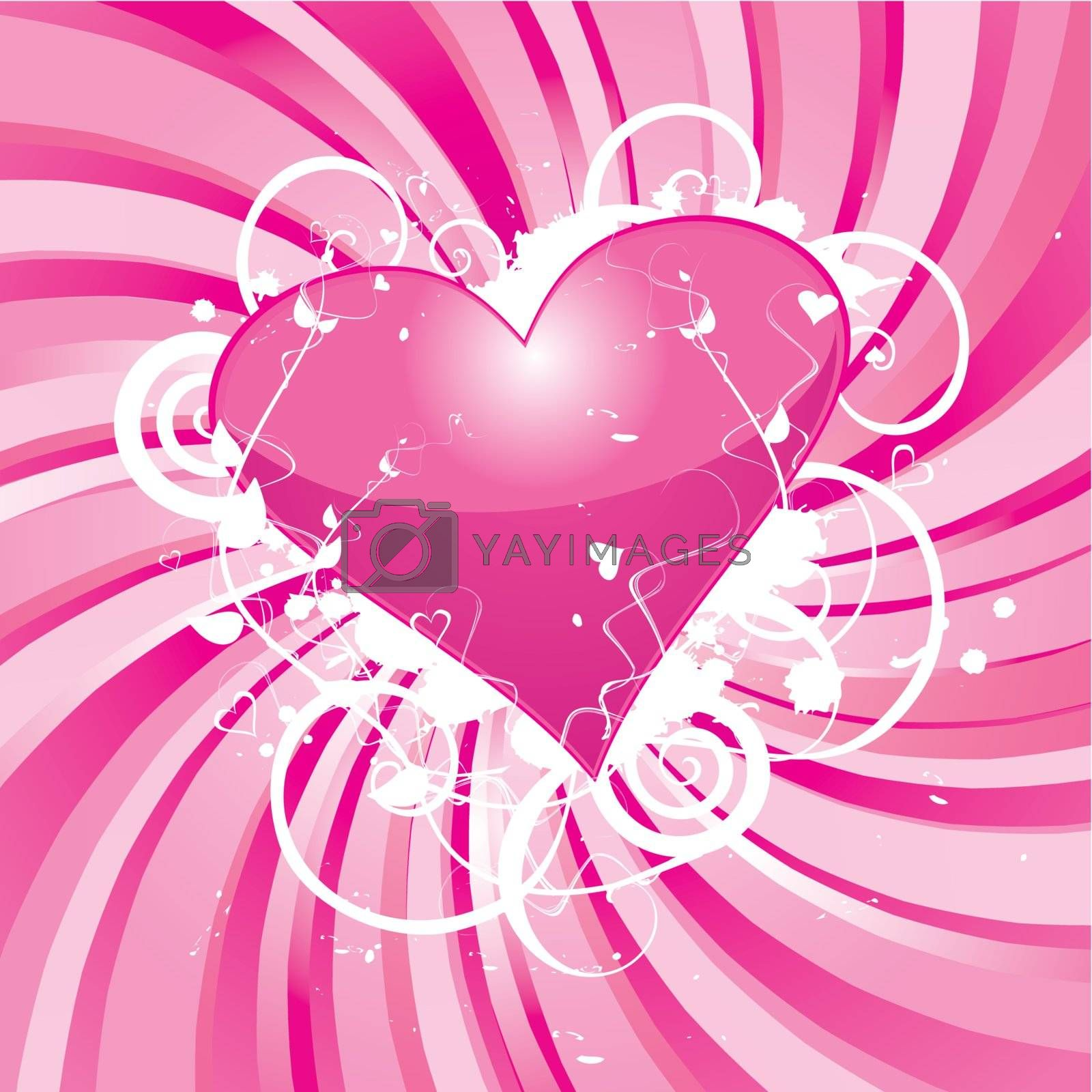 Valentines Day Shiny Pink Heart On Grunge Floral, vector illustration