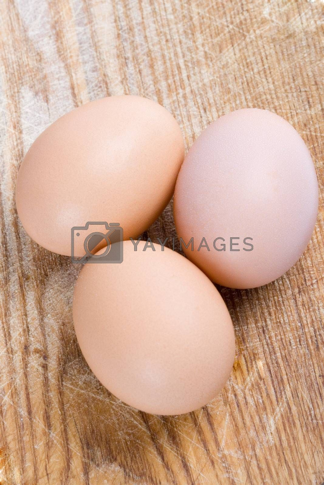Royalty free image of three brown eggs by marylooo
