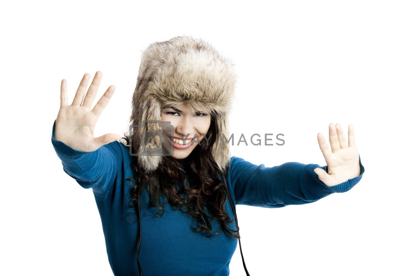 Royalty free image of Girl with a fur hat by Iko