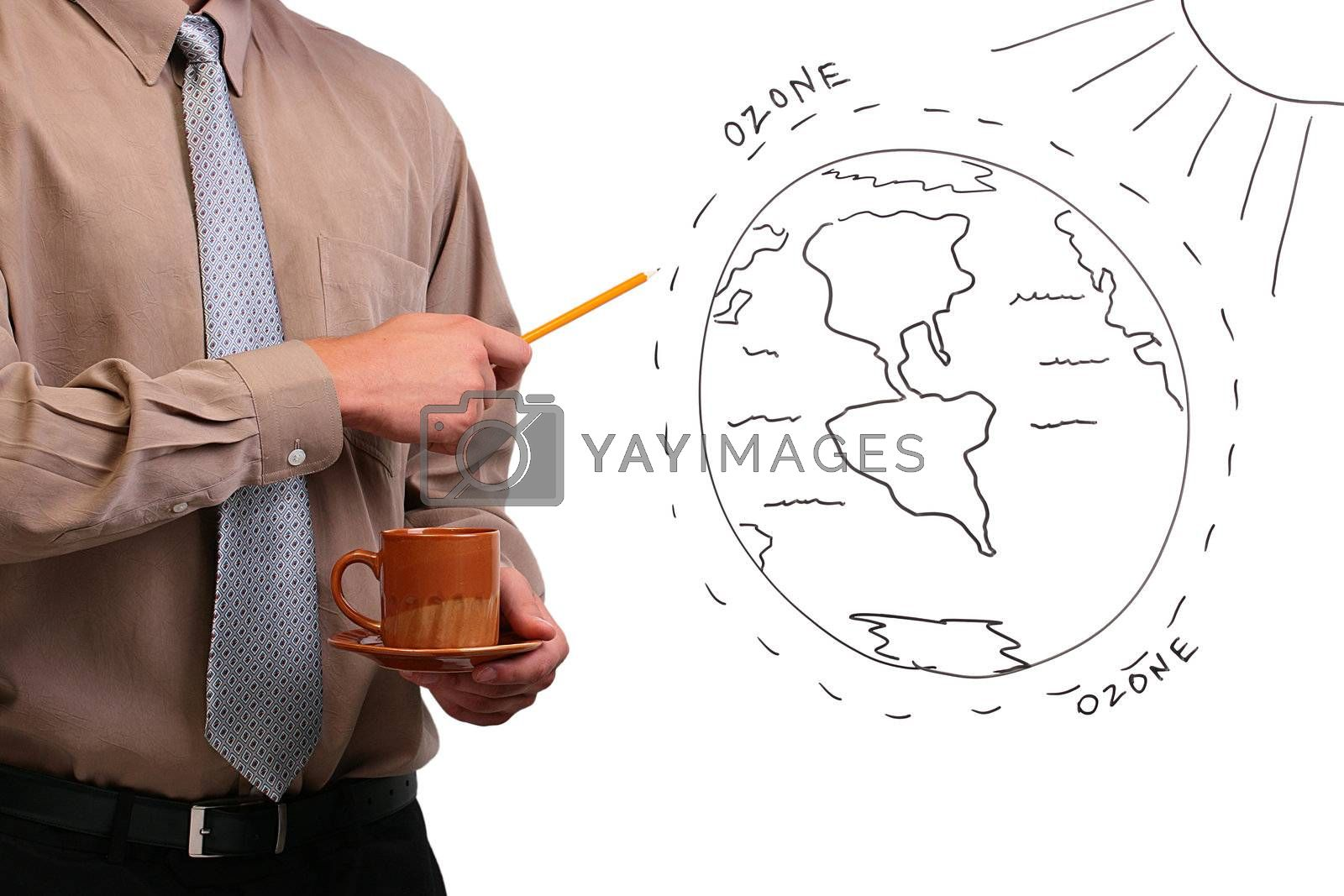 Royalty free image of Man pointing to a diagram by VIPDesignUSA