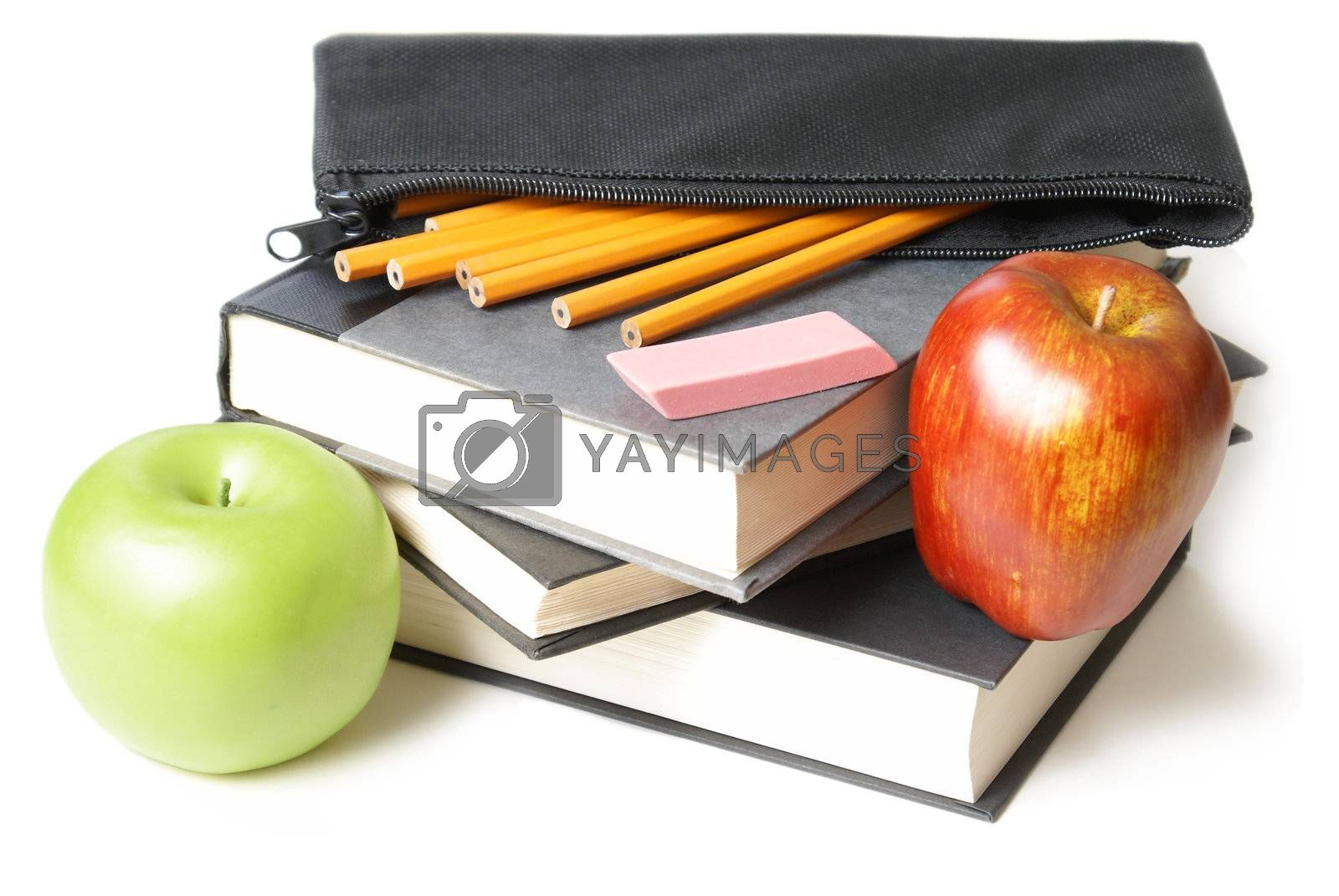 Royalty free image of School Books with Pencil Case by AlphaBaby