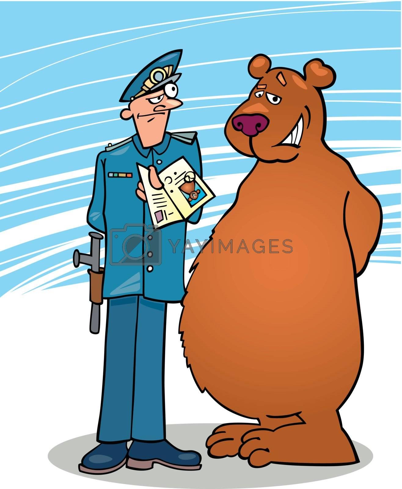 Royalty free image of bear and policeman by izakowski