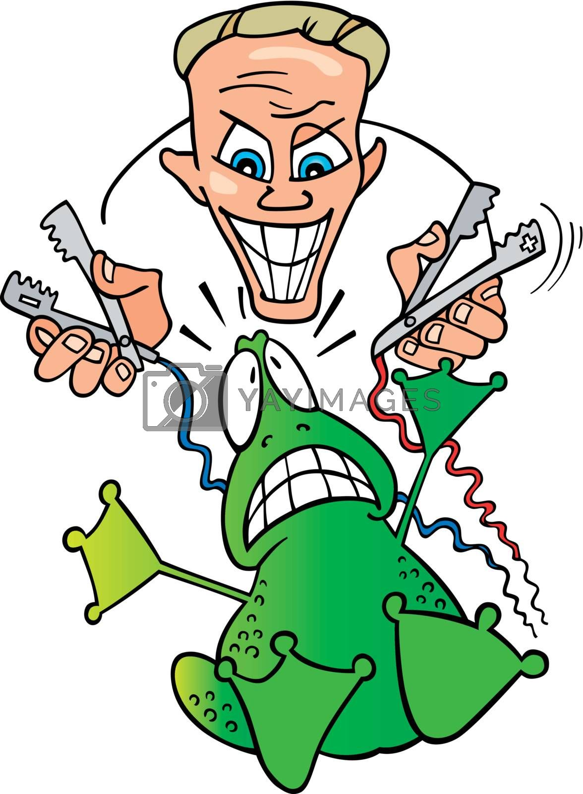 Royalty free image of crazy scientist and frightened frog by izakowski
