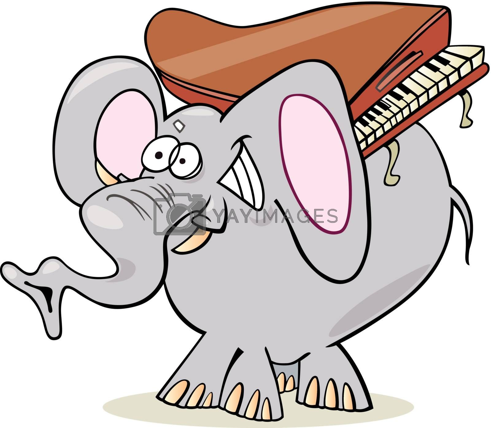 Royalty free image of elephant with piano by izakowski