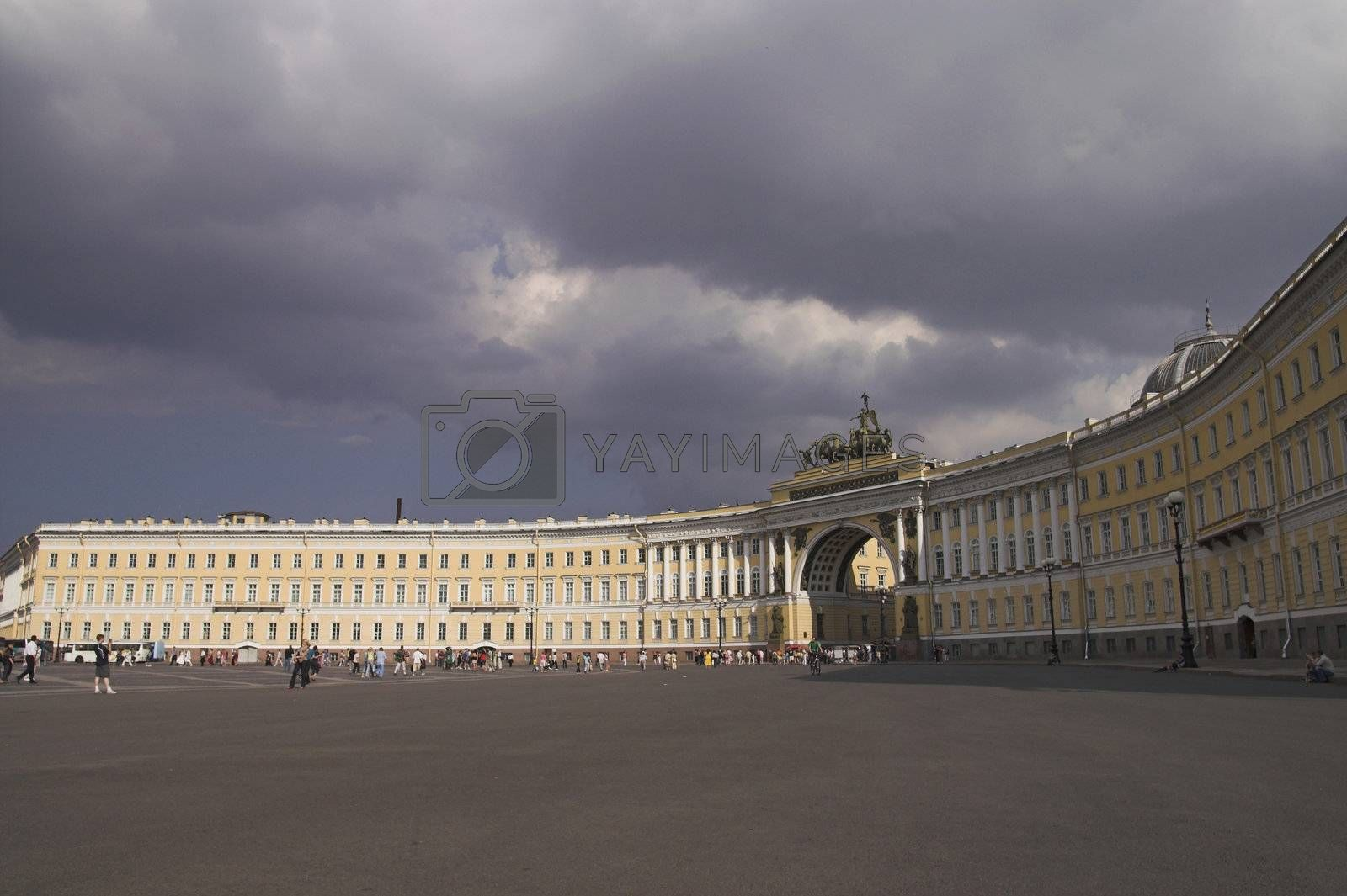 General Army Staff Building in Saint Petersburg, Russia. Classicism-epoch style.