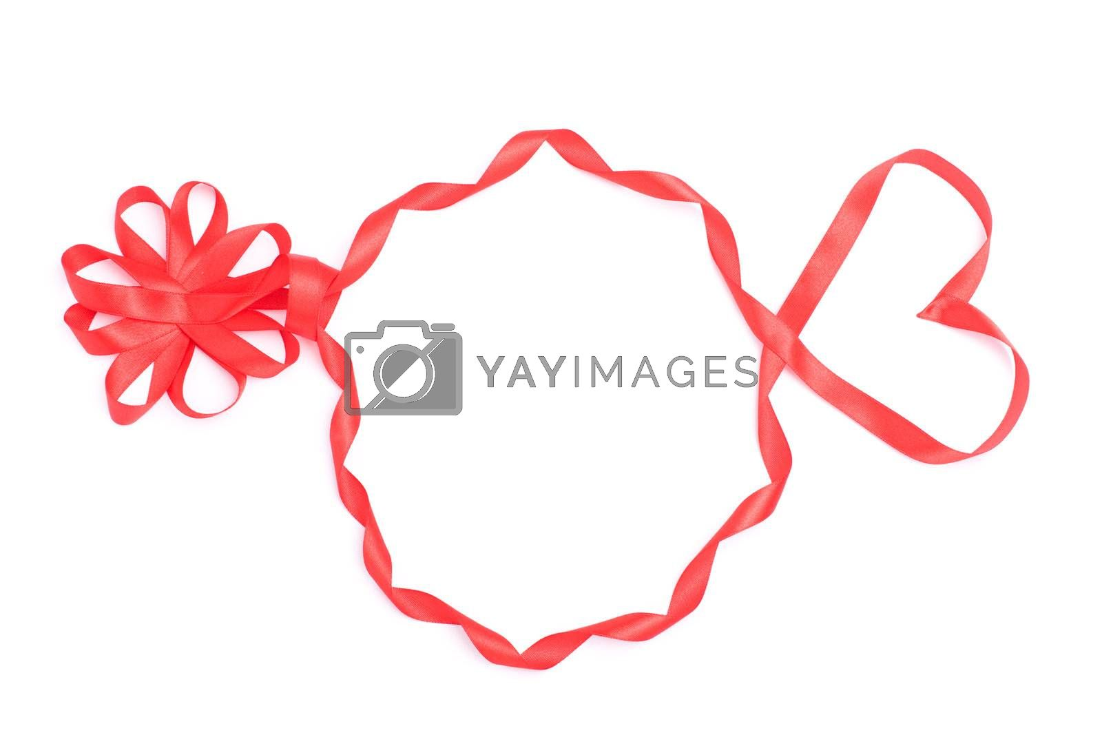 Silhouette of head from ribbon for Valentine isolated over white