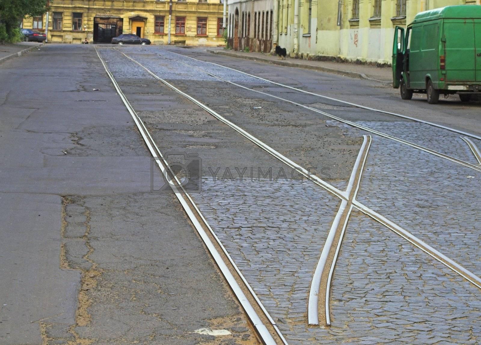 Tram lines at city street