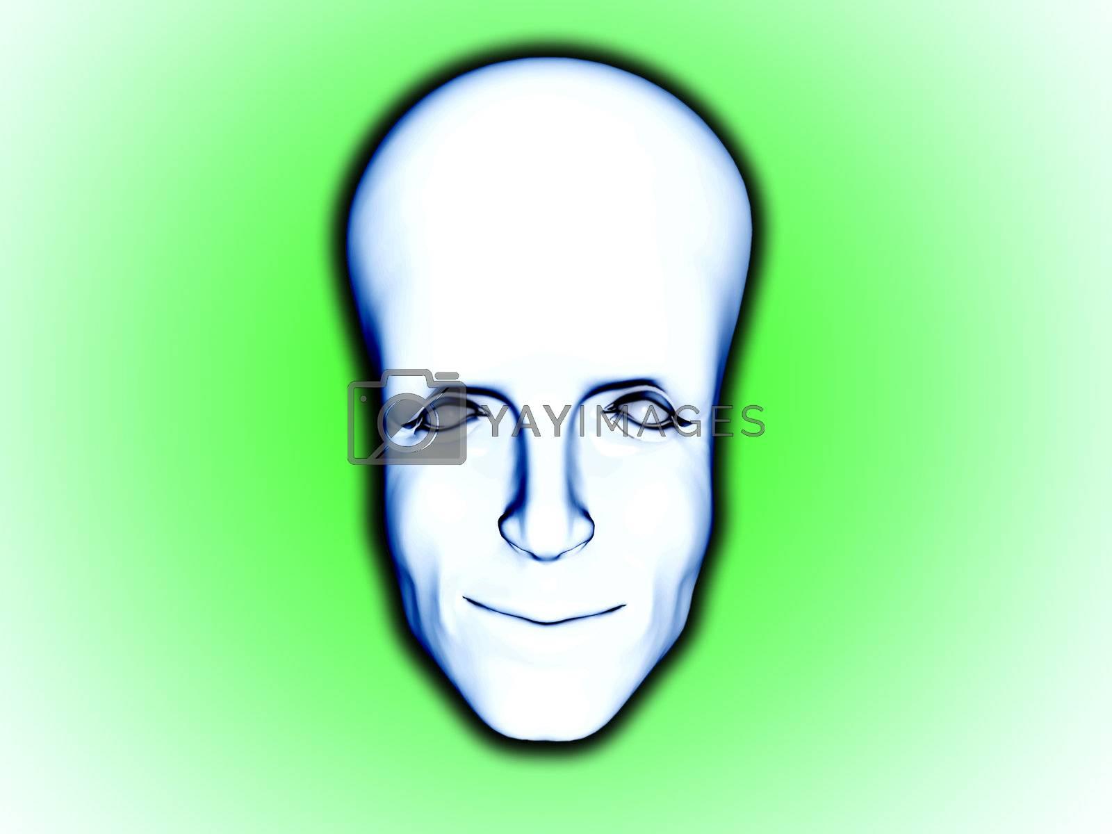 Conceptual big brained smart mans face.