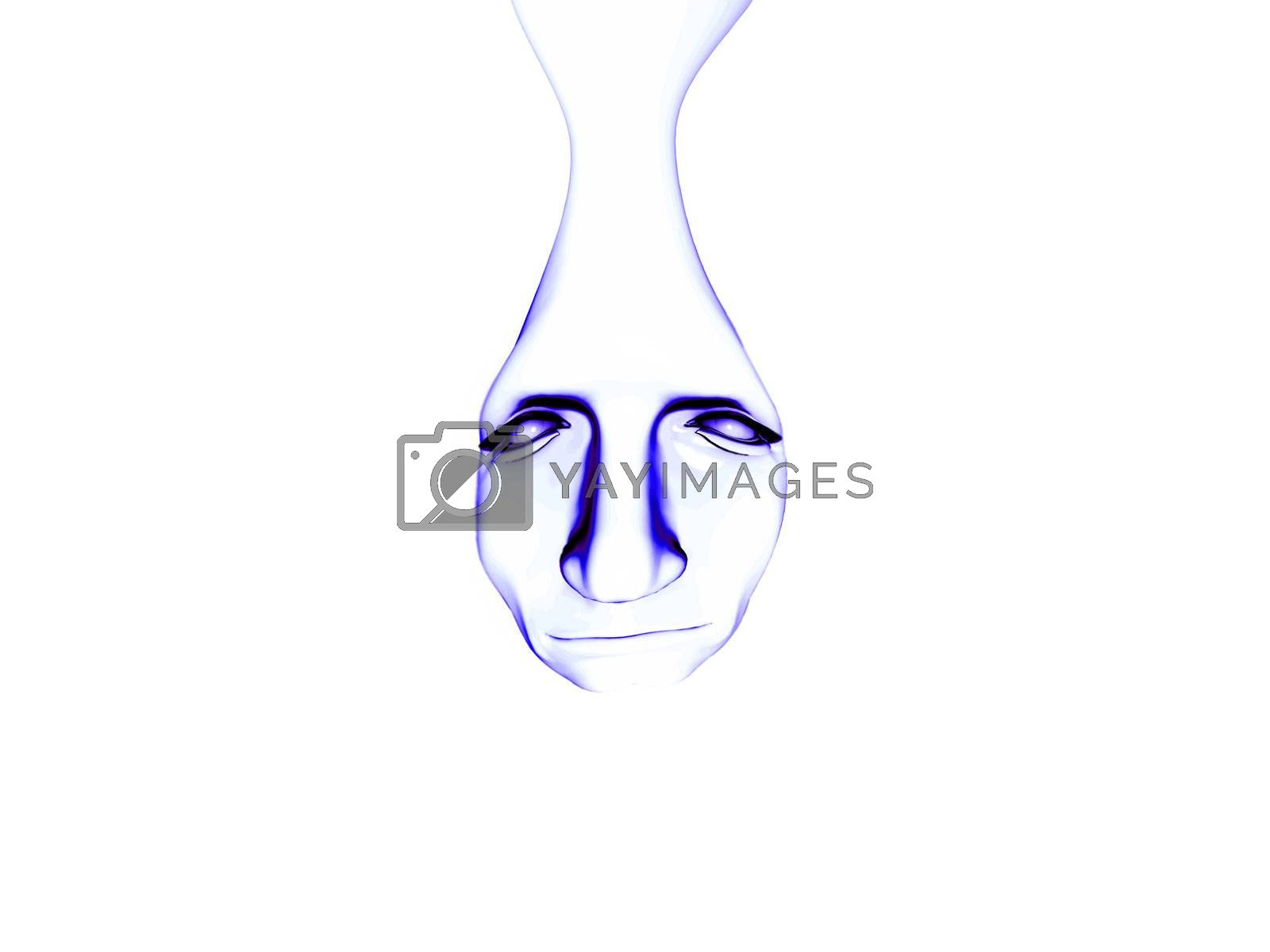 A face formed in a liquid tear drop, for sadness concepts.