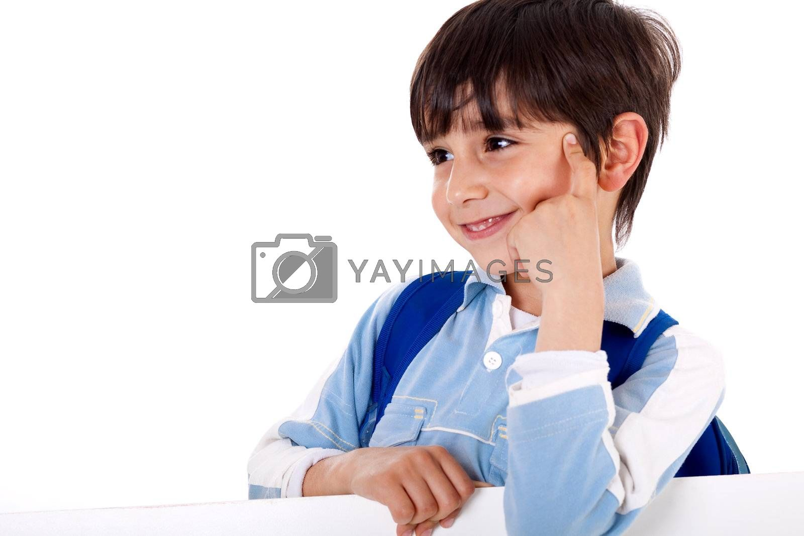 Cute kid thinking and looking sideways on isolated white background