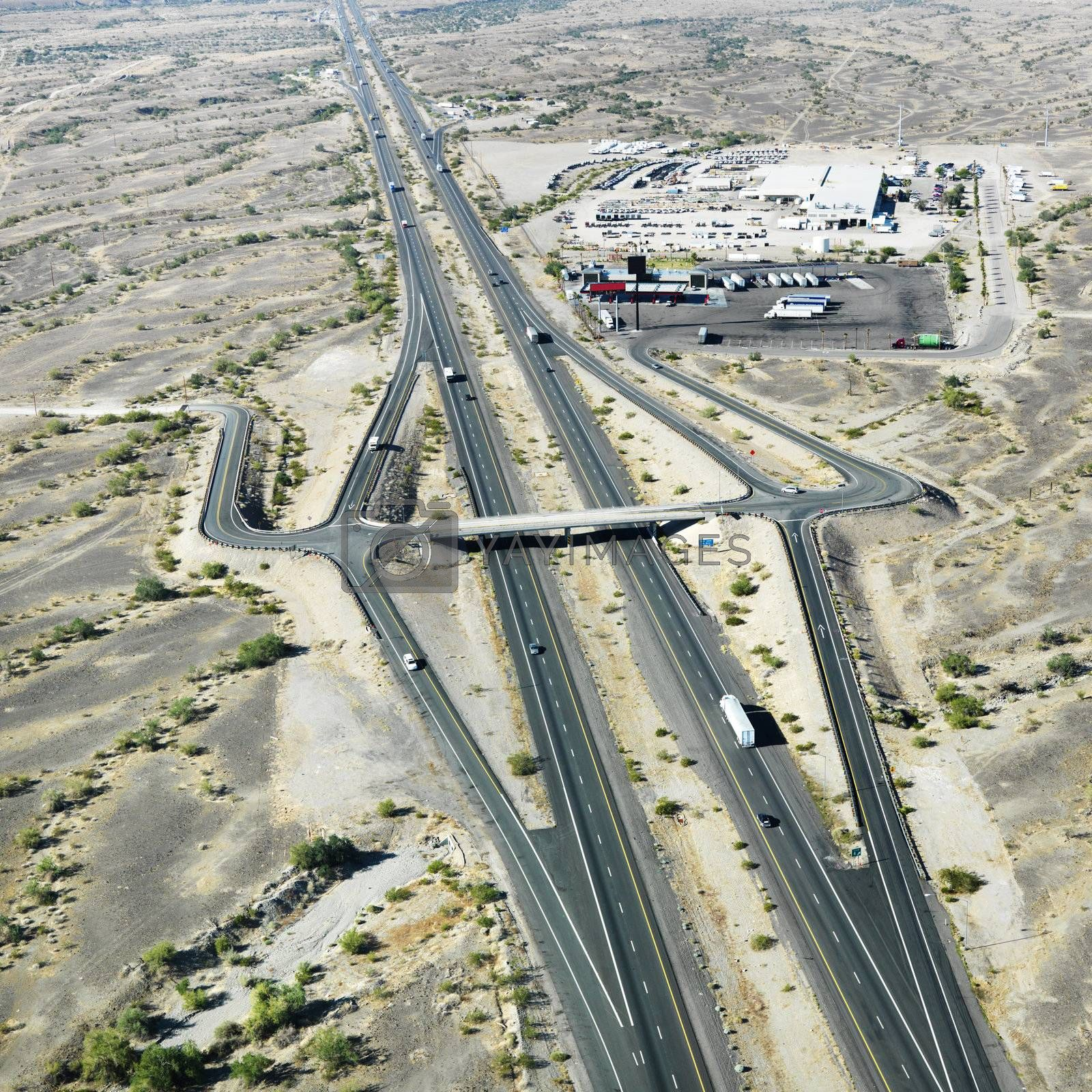 Aerial view of interstate 10 in southwest desert landscape of Arizona.