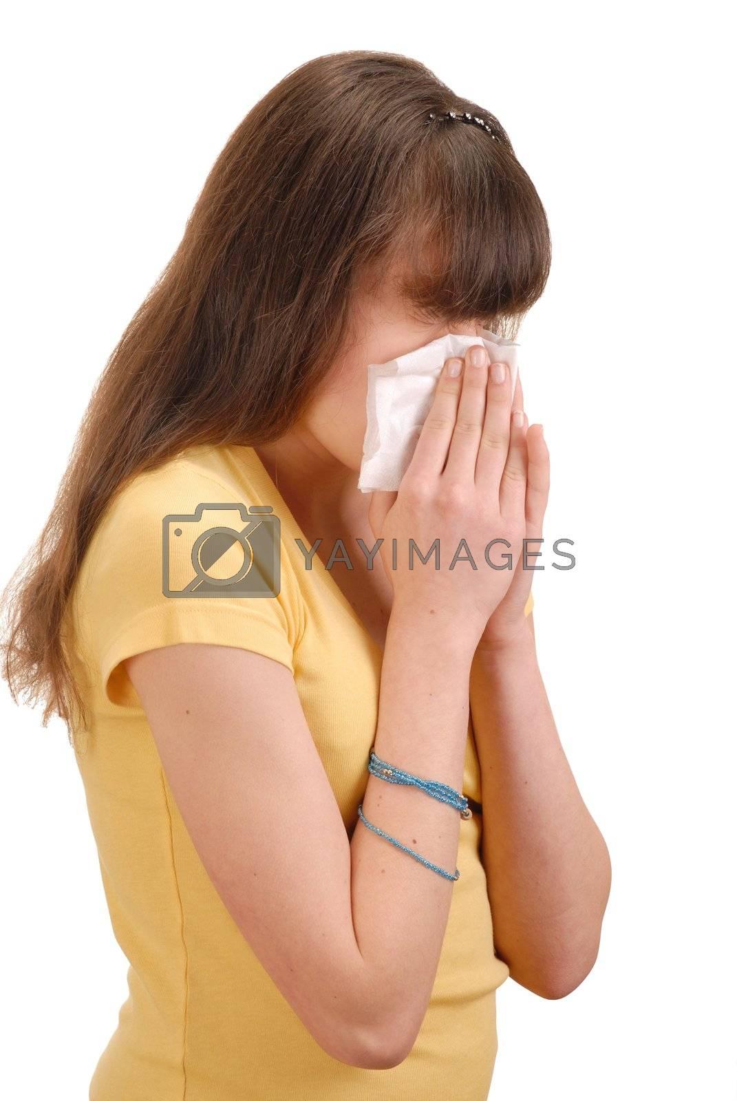 Teenage girl with handkerchief isolated on white