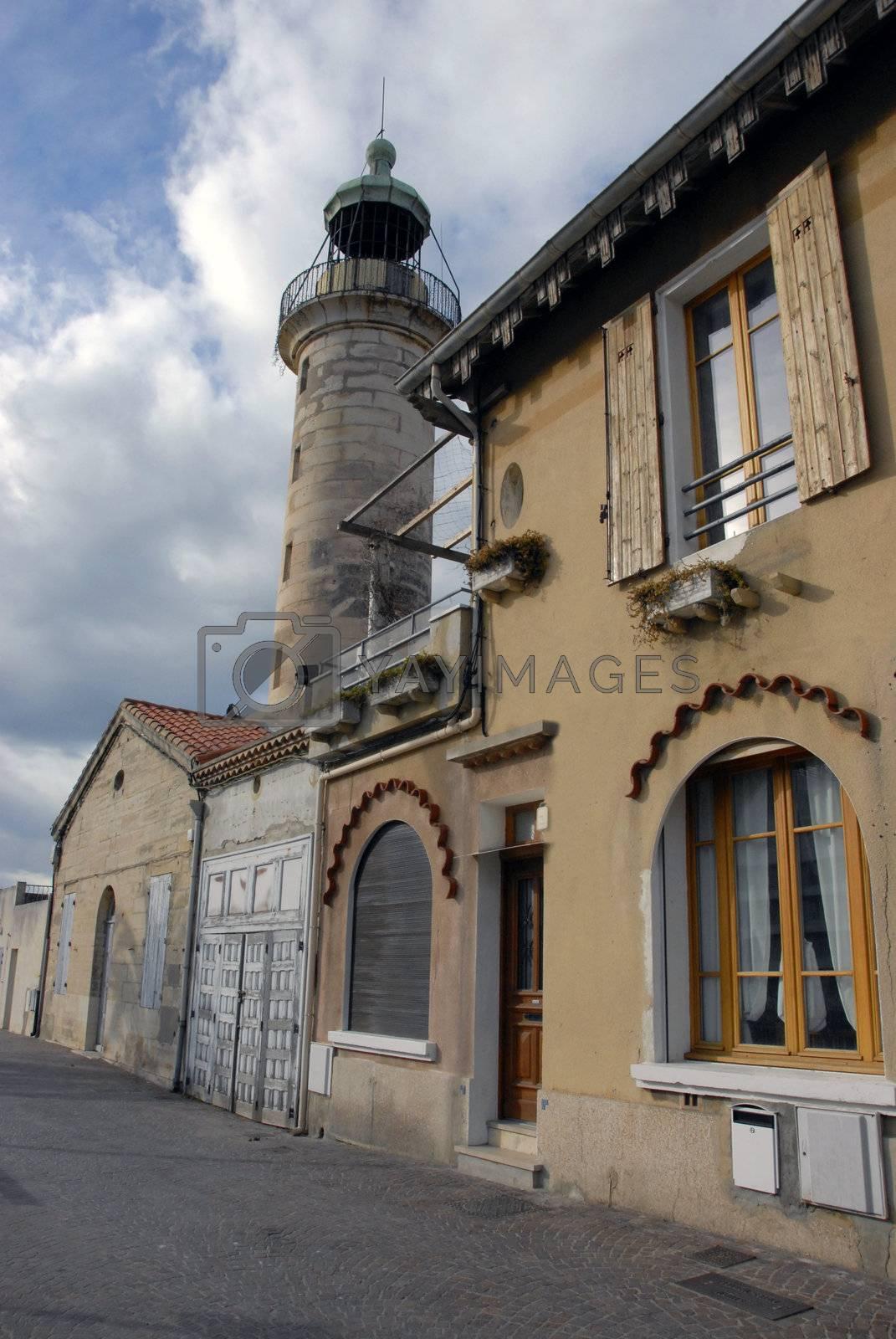 lighthouse in a street near the mediteranean sea at Grau du Roy