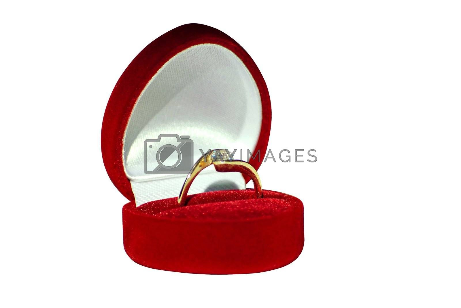 engagement ring in red box isolated on white background