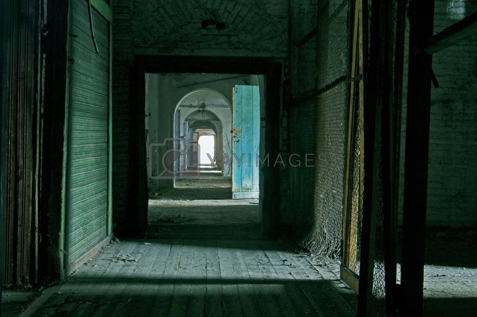 Corridor in Abandoned Storehouse Building