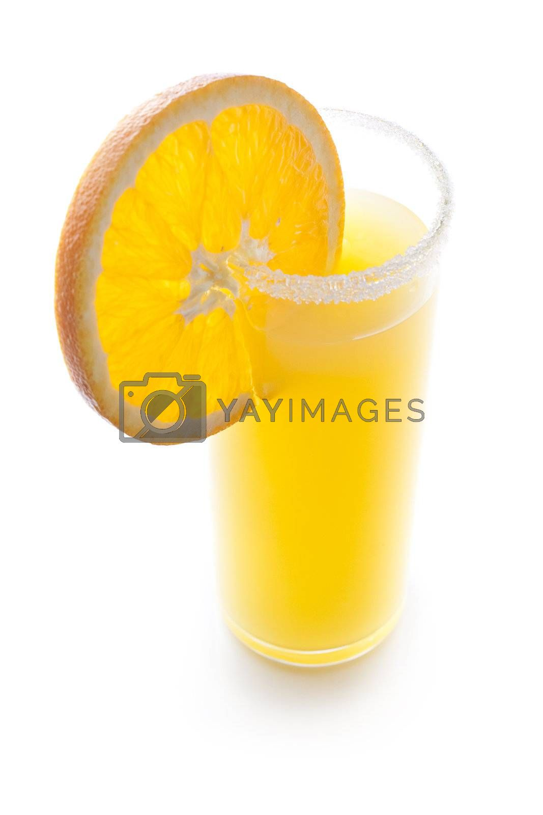 Cocktail with a slice of orange isolated on white